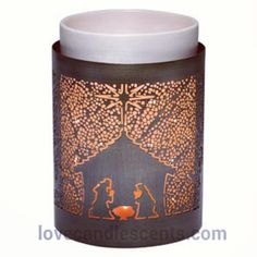 Celebrate #Christmas with the Nativity Full-size #scentsy Warmer Wrap that fits over our Glowing Core Scentsy Warmer. Available at http://scentsandoilsstore.weebly.com. Part of the Holiday Scentsy Warmer. $12.