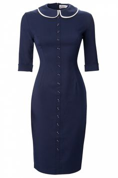 Glamour Bunny - Glamour Bunny - TopVintage exclusive ~ Miss Prim Peter Pan collar pencil dress na