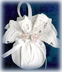 For these ornaments you can use a glass ornament, styrofoam ball or pretty much anything that is round and can accomodate a hanging ribbon. Just wrap your doily around your ornament and tie with a ribbon to secure.    Use a little hot glue to attach a few tiny flowers, pinecones, Christmas greenery or other embellishments.