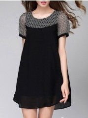 Elegant Round Neck Patchwork Sleeve Shift-dress