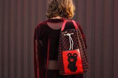 USSR Olympics Rucksack / RARE Black & Red Check Canvas, Misha Olympic Bear Print / 1979 Soviet Vintage Vegan Leather Small Festival Backpack