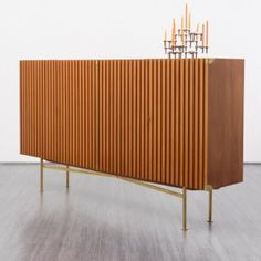 Elegant 1950s highboard with fluted doors, walnut - www.velvet-point.com