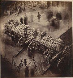 Barricades de la Commune, 1871.  Coin de la place Hotel de Ville & de la rue de Rivoli. By Pierre-Ambrose Richebourg (French, 1810–1893)