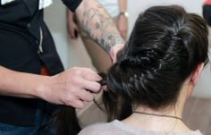 Making of braids by Costa Stavrositu, senior hairstylist