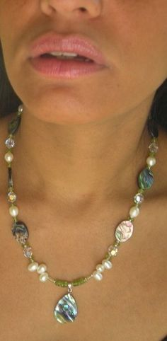 New Zealand Paua shells with AA quality pearls, Peridot, Swarovski Crystal and Sterling Silver Necklace. $60.00  GemCandyStudio Collectioj