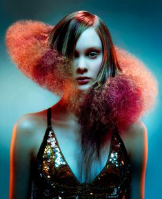 Red and teal Avant-Garde Hair Designs Creative Hairstyles, Up Hairstyles, Avant Garde Hairstyles, Hair Photography, Editorial Photography, Editorial Hair, Beauty Editorial, Fantasy Hair, Fantasy Makeup