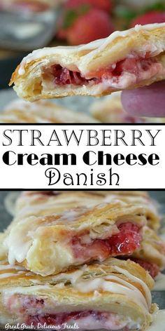 Strawberry Danish Recipe, Strawberry Breakfast, Strawberry Recipes, Breakfast Pastries, Sweet Breakfast, Breakfast Dishes, Breakfast Cheese Danish, Crossant Recipes, Delicious Desserts