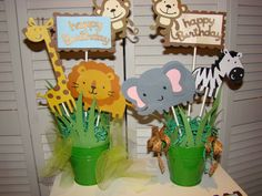 Jungle safari baby shower centerpiece first by pearlyskies for deco table j Safari Table Decorations, Jungle Centerpieces, Baby Shower Table Centerpieces, Birthday Party Centerpieces, Baby Shower Decorations, Tropical Centerpieces, Jungle Theme Parties, Jungle Theme Birthday, Safari Birthday Party