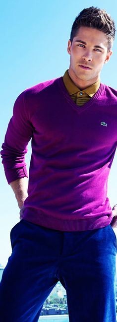 Lacoste Purple V-neck Sweater, Mustard Dress Shirt, Blue Chinos Sharp Dressed Man, Well Dressed Men, Fashion Moda, Men's Fashion, Lacoste, Blue Chinos, Blue Pants, Style Masculin, Herren Style