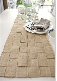 woven burlap table runner. This would be good for the tables during Thanksgiving and Christmas.