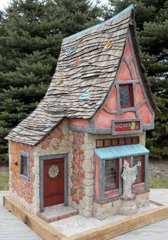 Love this roof Pic 1 of 2 ~ Cottage by Dennis Nordman Miniature Rooms, Miniature Houses, Witch Cottage, Fairy Garden Houses, Fairy Gardens, Gnome House, Ceramic Houses, Glitter Houses, Play Houses