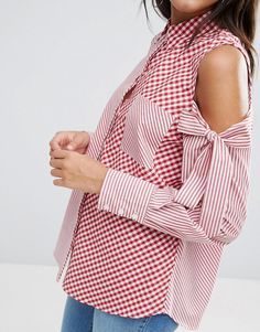 Buy ASOS Stripe & Gingham Shirt with Cold Shoulder at ASOS. Get the latest trends with ASOS now. Iranian Women Fashion, Korean Fashion, Polyvore Outfits, Umgestaltete Shirts, Blog Couture, Vetement Fashion, Gingham Shirt, Red Gingham, Fashion Details