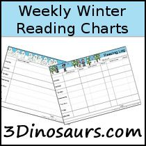 3 Dinosaurs - Winter Weekly Reading Charts First Grade, Second Grade, Weekly Reading Logs, Reading Charts, Chapter Books, Fourth Grade, Book Activities, Dinosaurs, Free Printables