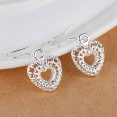 Onefeart Sterling Silver Necklace Pendant Earrings Jewelry Set for Women Heart Shape Wedding Gifts >>> Click image to review more details.-It is an affiliate link to Amazon. #JewelrySets