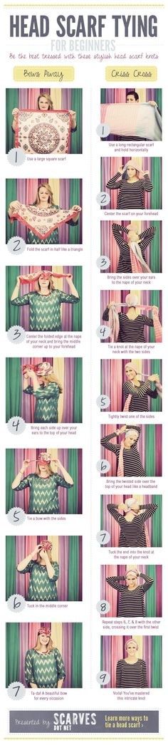 Head Scarf Tying for Beginners | Scarves.net This will be useful when I shave my head for cancer!: