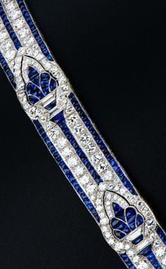 Art Deco Diamond and Sapphire Bracelet. #sapphirebracelet #ArtDecoDiamond
