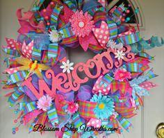 Deco Mesh Wreath, Welcome Wreath, Spring Wreath, Summer Wreath, Door Welcome…