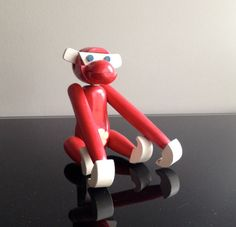 Mid Century Red Wooden Monkey by Modernismus on Etsy, $58.00