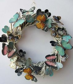 Pretty and Whimsical Butterflies and Hearts Wreath by DianeA, $38.00