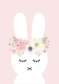 Flower Bunny Print This 'Flower Bunny' print is the perfect addition to any little girls room or nursery! This print is available in 4 sizes: Print 210 x Print 297 The post Flower Bunny Print appeared first on Slaapkamer ideeën. Baby Wallpaper, Iphone Wallpaper, Rabbit Wallpaper, Contemporary Wall Decals, Lapin Art, Image Deco, Bunny Birthday, Bunny Art, Kids Prints