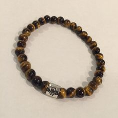SBC042S STONE w TW LOGO RING BRACELET (6MM TIGER EYE) ¥11,880-(tax in)