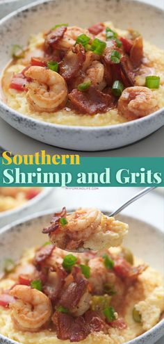 When I'm in the mood for comfort food, shrimp and grits is one of my favorite go to's. This southern style recipe is creamy and rich, and ticks all of the right boxes. Shrimp Recipes Easy, Fish Recipes, Seafood Recipes, Drink Recipes, Shrimp Dishes, Fish Dishes, Food Shrimp, Southern Shrimp And Grits