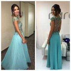 Vestido Longo Azul com Renda Aplicada - Long Blue Dress   Siga no instagram @atelierceliavieira