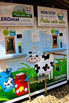 Ljubljana - Slovenia: Central Market and a MILK vending machine.