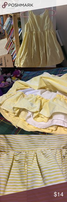 Ralph Lauren baby dress 12 month Brand new never worn yellow and white striped RL dress,  almost seersucker feel, with full skirt, super cute for Easter or spring or summer fancier occasion Ralph Lauren Dresses