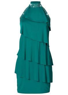 Nagyon csinos ruha csodálatosan fénylő szegecsekkel a nyakkivágásán és trendi fodrokkal az elején. Nyakban köthető nyakrésszel és mély kivágással a hátoldalán. Hossza a 40/42-es méretben kb. 92 cm. Felső anyag: 10% elasztán, 90% poliészter