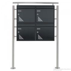 4er Max Knobloch Briefkastenanlage VERTIGO Design - Standelemente - Edition Edelstahl - Anthratzitgrau 7016 + Regenschutzdach