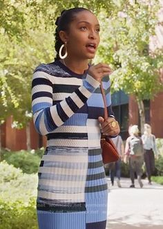 Zoey's blue striped knit dress on Grown-ish. Outfit Details: https://wornontv.net/89055/ #Grown-ish