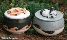 Sighthound Ceramic boxes by Malens Ceramics.