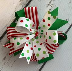 Sassy Christmas Hair Bow - Christmas Bow Grosgrain Ribbons Layered