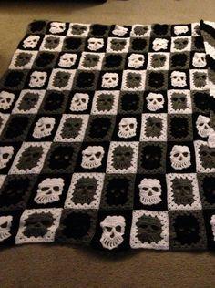 Crochet Skull blanket for my hubby