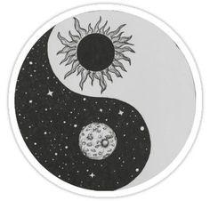 'Sun & Moon Yin Yang' Sticker by Rachel Bernstein Arte Yin Yang, Ying Y Yang, Yin Yang Art, Yin And Yang, Yin Yang Tattoos, Sun Tattoos, Anime Tattoos, Tatoos, Sister Tattoos