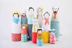 Soft sculptur Family dolls  Six adults and And by TIMOHANDMADE