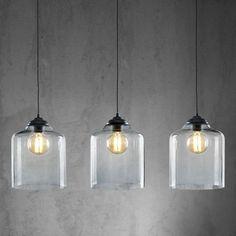 Dieser Artikel ist NUR ONLINE erhältlich! Diese schicke Hängeleuchte ist ein strahlender Blickfang für Ihr Zuhause und sorgt in jedem Wohnraum im Nu für angenehme Beleuchtung. Die ca. 95 x 24 x 120 cm (L x B x H) große Hängeleuchte aus satiniertem Nickel in Schwarz und 3 dekorativen Leuchtenschirmen aus rauchfarbenem Glas besticht durch ihre individuelle Optik und passt in viele Wohnbereiche. Sie ist für 3 Leuchtmittel E27 (EEZ-Klasse A   bis E) mit einer Leistung von je max. 60 Wa