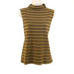 Vintage mini striped brown, black, and mustard yellow, ribbed sleeveless top with mock turtleneck. Vintage Clothing, Vintage Outfits, Top Vintage, Mustard Yellow, Turtleneck, High Neck Dress, Dresses For Work, Brown, Mini