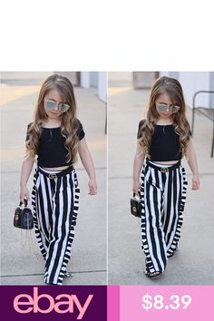 Toddler Kids Baby Girls T-shirt Tops+Long Pants Summer Outfits Clothes Set Baby Girl Party Dresses, Cute Girl Dresses, Baby Dress, Girls Fall Outfits, Toddler Girl Outfits, Summer Outfits, Baby Girl Fashion, Kids Fashion, Cut Tee Shirts