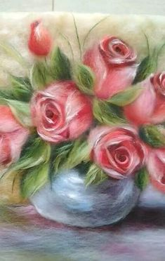 Painting With Wool, Custom Felted, Picture Felt Roses, Still Life Wool – kapı süsü – Kreativ Felt Roses, Felt Flowers, Felted Wool Crafts, Felt Crafts, Felt Pictures, Still Life Pictures, Rose Pictures, Portrait Studio, Needle Felting Tutorials