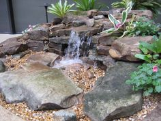 Pondless Waterfall | Small Pondless Waterfall using Mountai… | By: A Beautiful Yard | Flickr - Photo Sharing!