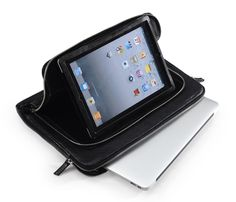 Front side Tablet PC pocket with removable Tablet PC holder for Galaxy Tab 10.1/Galaxy Tab 8.9/the New iPad/ iPad 2 /iPad 1 and with Adjustable Kickstand, viewing angles.  **Big pocket similar with portfolio Sleeve, which with zipper closure inside pocket and cellphone or purse pocket, and have enough space to carrying up to 15 inch Ultrabook.