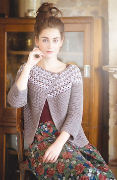 Anzen | crochet cardigan pattern by Simone Francis, published in Pom Pom Quarterly, issue 7: Winter 2013. Love the granny style yoke with very modern look!