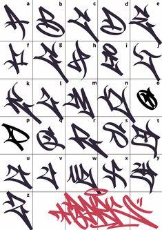 Graffiti Lettering Alphabet, Graffiti Text, Tattoo Fonts Alphabet, Chicano Lettering, Graffiti Writing, Graffiti Tagging, Street Art Graffiti, Tag Alphabet, Tattoo Lettering Styles