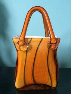 Murano Blue & Brown Tigerlily Glass Purse