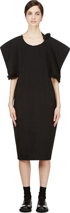 Comme des Gar�ons - Black Raw Edge Ruffle Dress