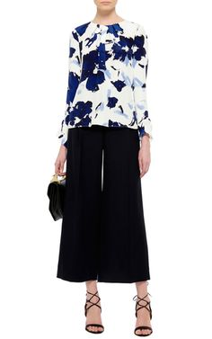 Silk Printed Long Sleeved Blouse by OSCAR DE LA RENTA Now Available on Moda Operandi