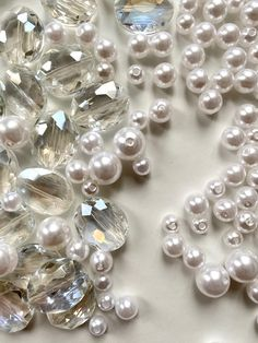 Pearls | glass beads | pearl aesthetic | work aesthetic | work in progress | in the making | behind the scenes | materials | materials and textures | beads | iridescent | sparkling | sparkling aesthetic | pearl jewellery | jewellery | workworkwork | at work | work aesthetics
