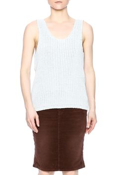 Gigi knit top in grey. Sleeveless top with a slight oversized fit.    Gigi Knit Top by R/H. Clothing - Tops - Sleeveless Clothing - Tops - Tees & Tanks Manhattan, New York City